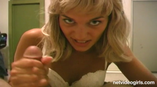 Naughty Blonde In A Sexy White Bra