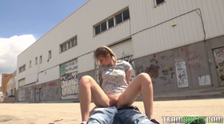 Blonde teen sucked dick in a public place and then she got fucked in her bedroom